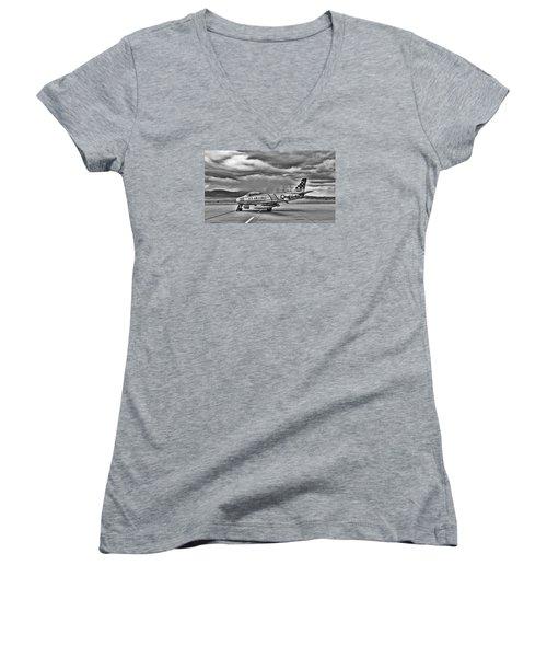 F-86 Sabre Women's V-Neck T-Shirt (Junior Cut) by Douglas Castleman