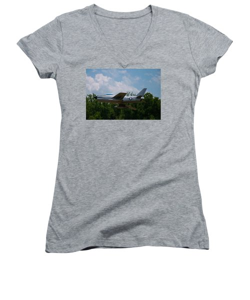 Women's V-Neck T-Shirt (Junior Cut) featuring the digital art F-86l Sabre by Chris Flees