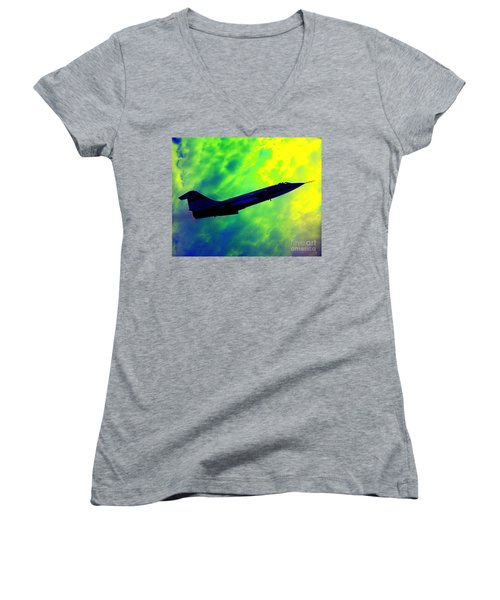 F104 In Clouds - 2 Women's V-Neck T-Shirt