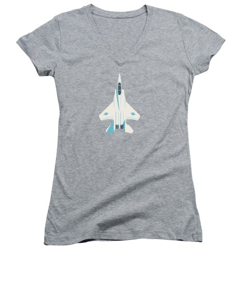 F15 Eagle Us Air Force Fighter Jet Aircraft - Blue Women's V-Neck T-Shirt