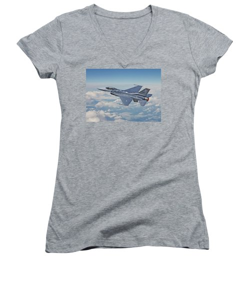 Women's V-Neck T-Shirt (Junior Cut) featuring the digital art F16 - Fighting Falcon by Pat Speirs