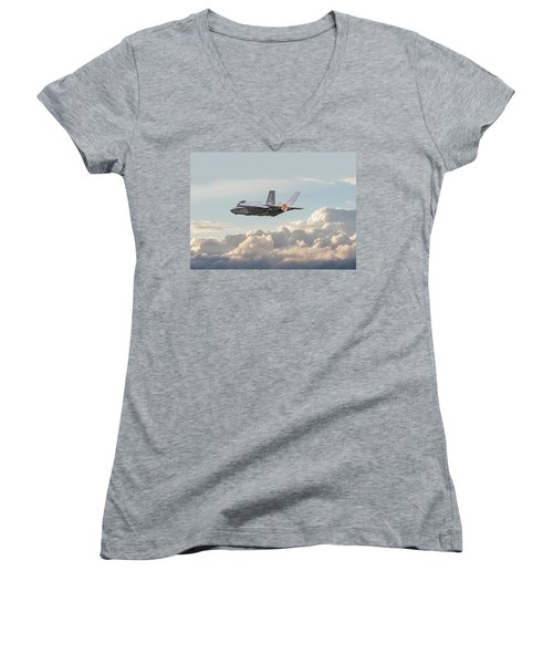 Women's V-Neck T-Shirt (Junior Cut) featuring the photograph F35 -  Into The Future by Pat Speirs