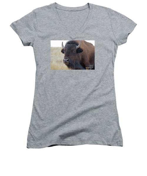 Women's V-Neck featuring the photograph Face Of A Bison by Bill Gabbert