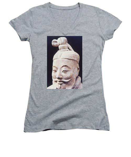Women's V-Neck T-Shirt (Junior Cut) featuring the photograph Face Of A Terracotta Warrior by Heiko Koehrer-Wagner