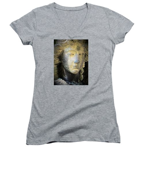 Women's V-Neck T-Shirt (Junior Cut) featuring the photograph Face Of An Angel 10 by Maria Huntley
