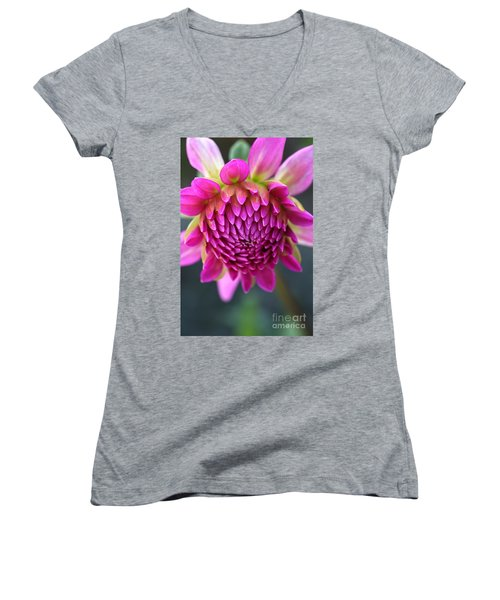 Face Of Dahlia Women's V-Neck T-Shirt