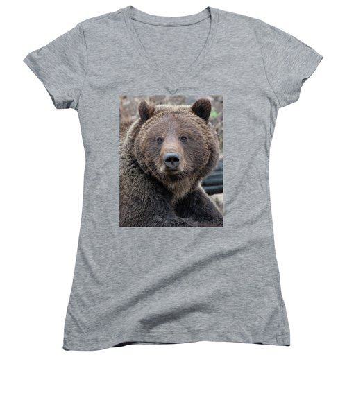 Face Of The Grizzly Women's V-Neck (Athletic Fit)