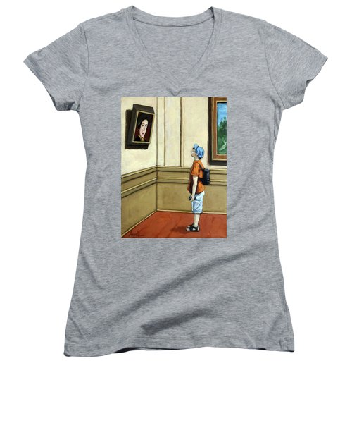 Face To Face - Boy Viewing Art Women's V-Neck