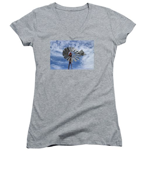 Women's V-Neck T-Shirt (Junior Cut) featuring the photograph Facing Into The Breeze by Stephen Mitchell