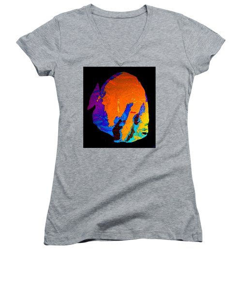 Women's V-Neck T-Shirt (Junior Cut) featuring the painting Facing The Fish by David Lee Thompson