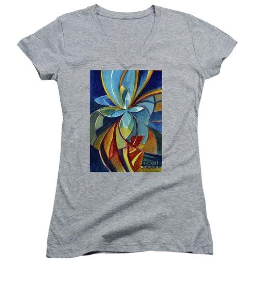 Fractal Flower Women's V-Neck T-Shirt