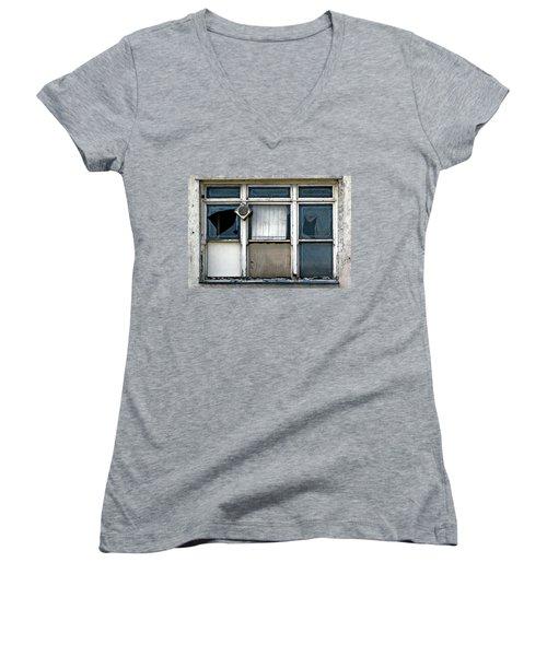 Factory Windows Women's V-Neck T-Shirt (Junior Cut) by Ethna Gillespie