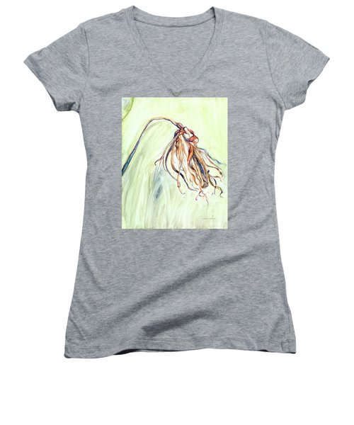 Women's V-Neck T-Shirt (Junior Cut) featuring the painting Faded by Nadine Dennis