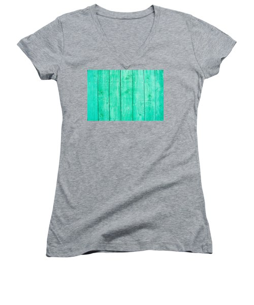 Women's V-Neck T-Shirt (Junior Cut) featuring the photograph Fading Aqua Paint On Wood by John Williams