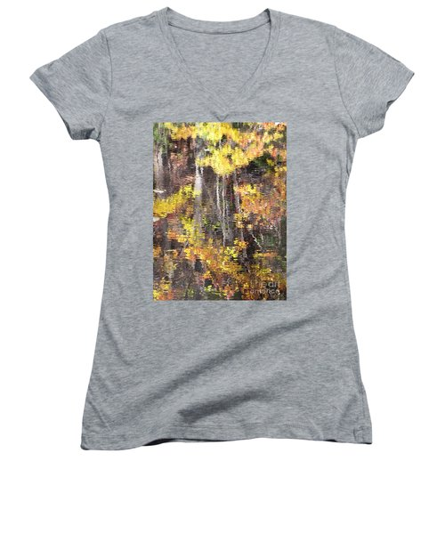 Fading Fall Water Women's V-Neck T-Shirt (Junior Cut) by Melissa Stoudt