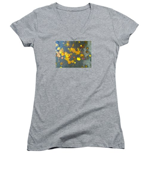 Fading Leaves Women's V-Neck T-Shirt (Junior Cut) by Suzanne Lorenz