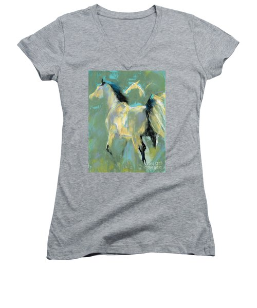 Fading Out To Three Women's V-Neck T-Shirt (Junior Cut) by Frances Marino