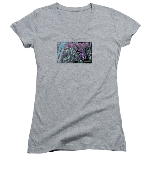Women's V-Neck T-Shirt (Junior Cut) featuring the photograph Fading Rose by Sandy Moulder