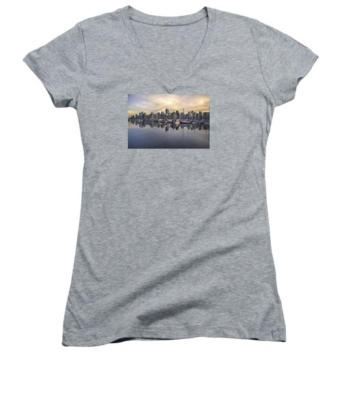 Fading Sun Over Downtown Vancouver Women's V-Neck T-Shirt (Junior Cut) by Sabine Edrissi