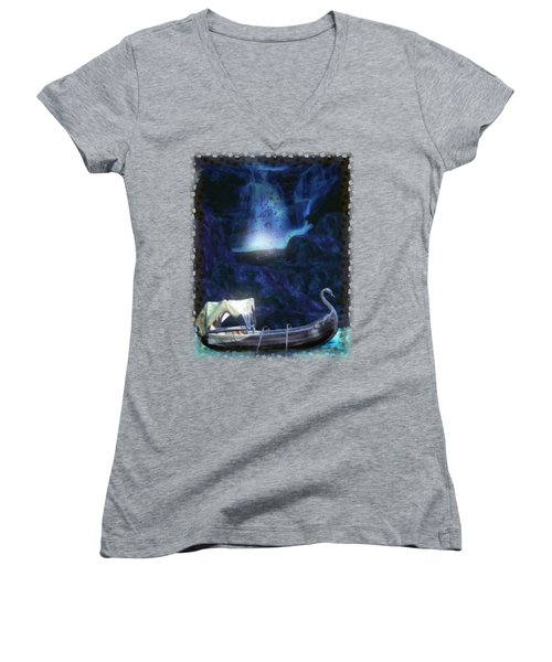 Faerie Cavern  Women's V-Neck T-Shirt (Junior Cut) by Sharon and Renee Lozen