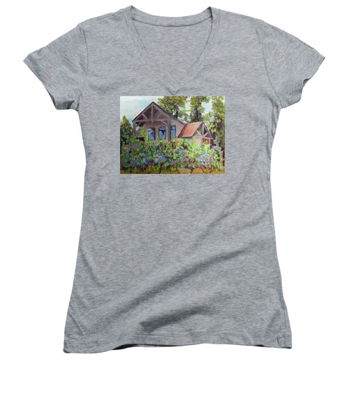 Women's V-Neck T-Shirt featuring the painting Fainting Goat Vineyard Through The Vines by Jan Dappen
