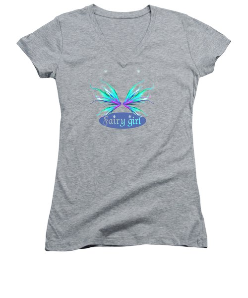 Fairy Girl Feathery Wings Women's V-Neck T-Shirt