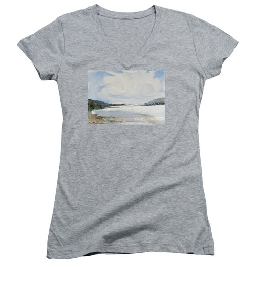 Women's V-Neck featuring the painting Fair Weather Or Foul? by Dorothy Darden