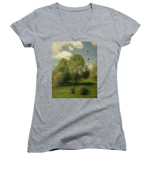 Women's V-Neck T-Shirt (Junior Cut) featuring the painting Fairchild Hill by Wayne Daniels