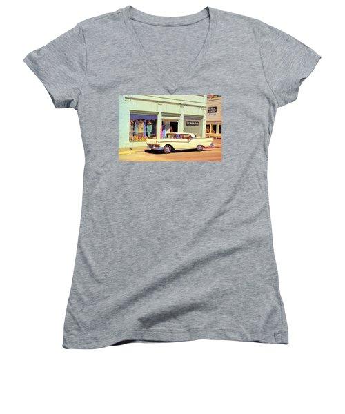 Fairlane 500 1957 Women's V-Neck T-Shirt (Junior Cut) by John Schneider