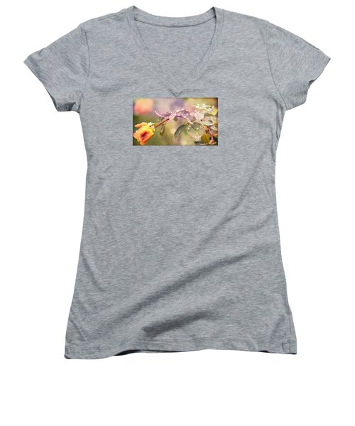 Fairy Drops Women's V-Neck T-Shirt (Junior Cut) by Cathy Donohoue