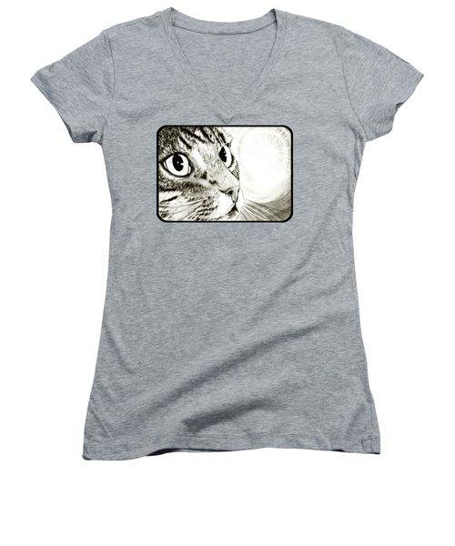Fairy Light Tabby Cat Drawing Women's V-Neck T-Shirt (Junior Cut) by Carrie Hawks