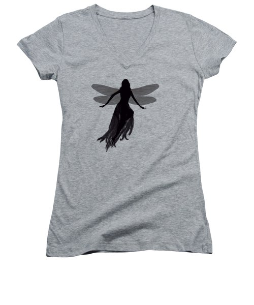 Fairy Silhouette Women's V-Neck T-Shirt (Junior Cut) by Tom Conway