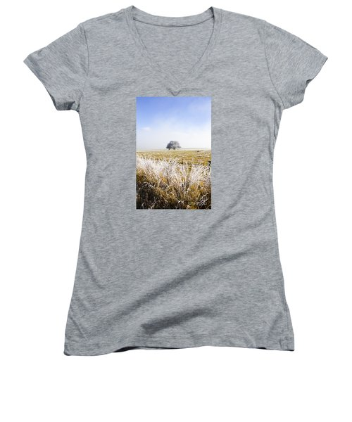 Women's V-Neck T-Shirt featuring the photograph Fairytale Winter In Fingal by Jorgo Photography - Wall Art Gallery