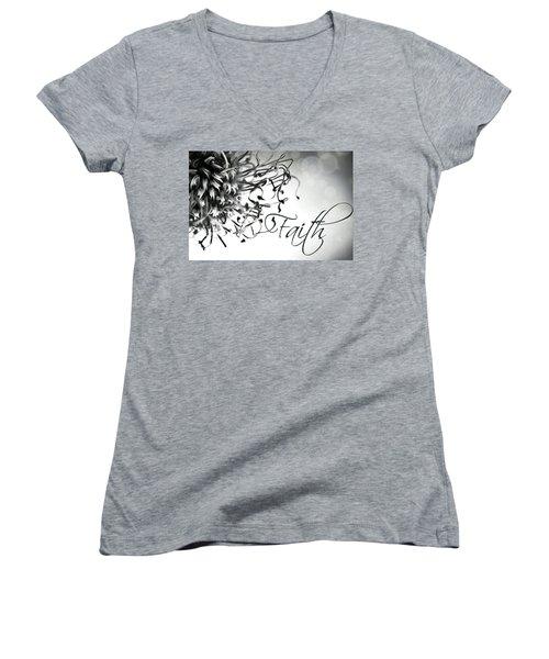 Faith Women's V-Neck T-Shirt (Junior Cut) by Bobby Villapando