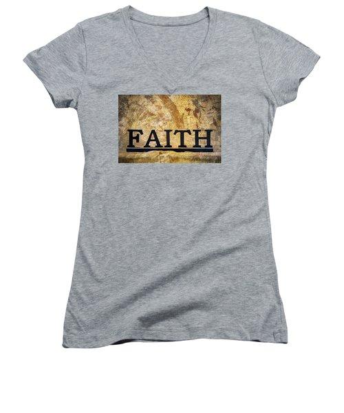 Faith Women's V-Neck T-Shirt (Junior Cut) by Randy Steele