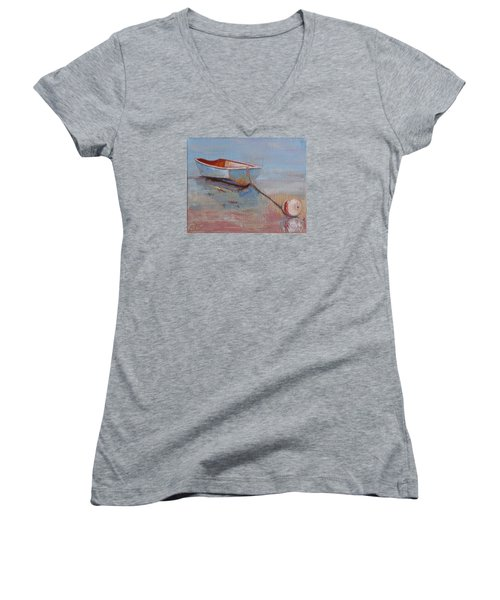 Faithful Dinghy Women's V-Neck T-Shirt (Junior Cut) by Trina Teele