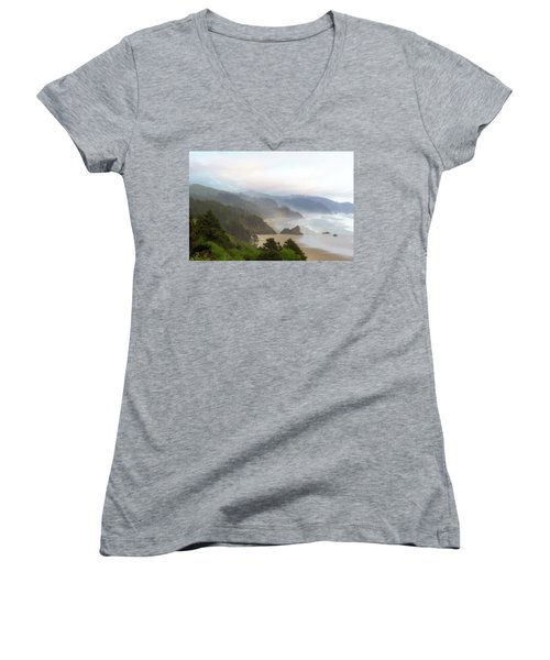 Falcon And Silver Point At Oregon Coast Women's V-Neck (Athletic Fit)