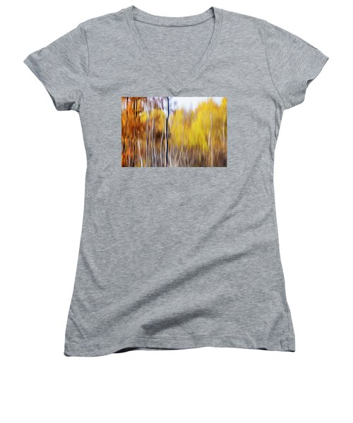 Women's V-Neck T-Shirt (Junior Cut) featuring the photograph Fall Abstract by Mircea Costina Photography