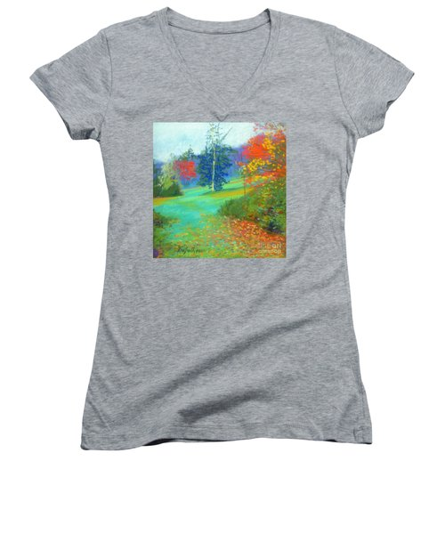 Fall Across The Field  Women's V-Neck T-Shirt (Junior Cut) by Rae  Smith PAC