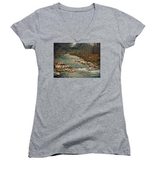 Fall Along The River Women's V-Neck (Athletic Fit)