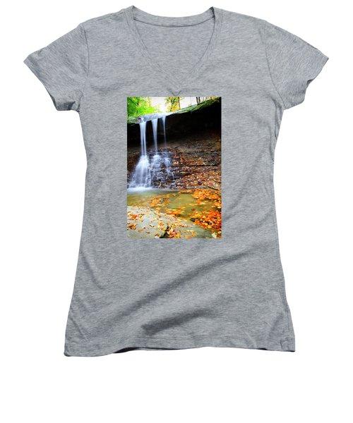 Fall At Blue Hen Falls Women's V-Neck T-Shirt