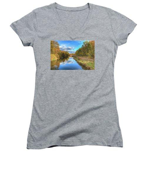 Women's V-Neck T-Shirt (Junior Cut) featuring the photograph Fall At Brunswick Lake  by Brent Durken
