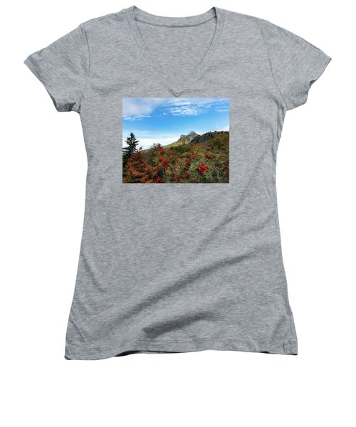 Fall At Grandfather Mountain Women's V-Neck (Athletic Fit)