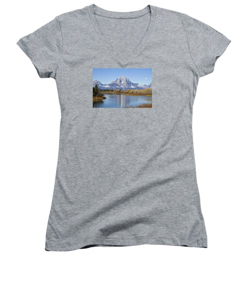Women's V-Neck T-Shirt (Junior Cut) featuring the photograph Fall At Teton -1 by Shirley Mitchell