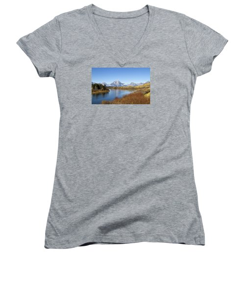 Women's V-Neck T-Shirt (Junior Cut) featuring the photograph Fall At Teton -2 by Shirley Mitchell