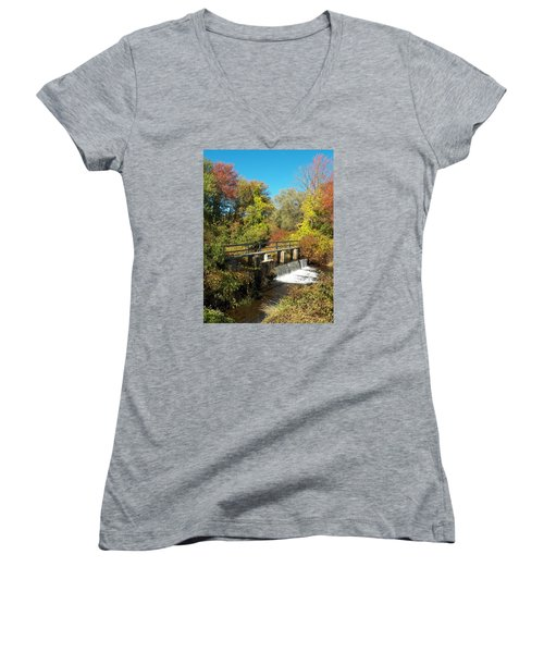 Fall At The Old Mill Stream Women's V-Neck T-Shirt