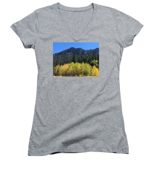 Fall At Twin Sisters Women's V-Neck T-Shirt