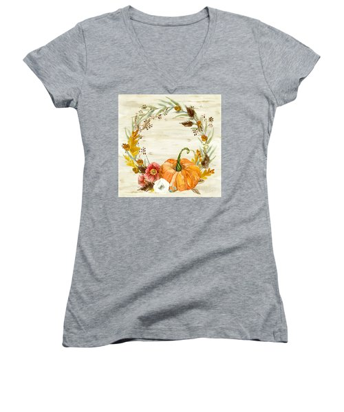 Women's V-Neck T-Shirt featuring the painting Fall Autumn Harvest Wreath On Birch Bark Watercolor by Audrey Jeanne Roberts