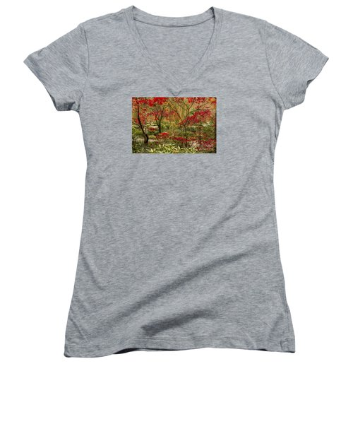 Fall Color In The Japanese Gardens Women's V-Neck T-Shirt (Junior Cut) by Barbara Bowen