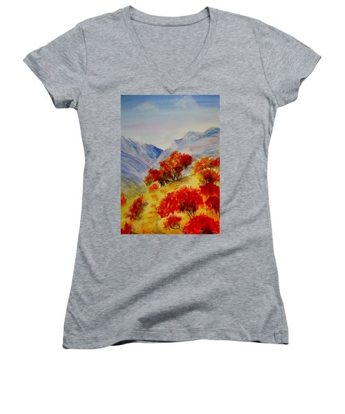 Women's V-Neck T-Shirt (Junior Cut) featuring the painting Fall Color by Jamie Frier